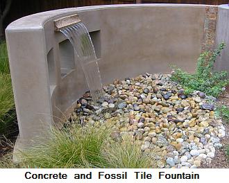Concrete (fossil) tile fountain
