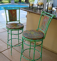 A set of barstools with ceramic seats and backs