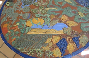 Dining table detail -- vineyards