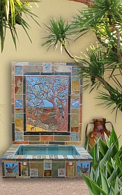 Tile and stone fountain mural