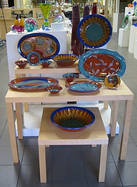 Low-fire pottery display at The Artery in Downtown Davis