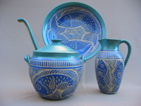 Stoneware blue fish design