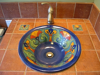 Sink, with accompanying tile inlays