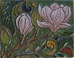 Tile detail -- magnolia blossoms